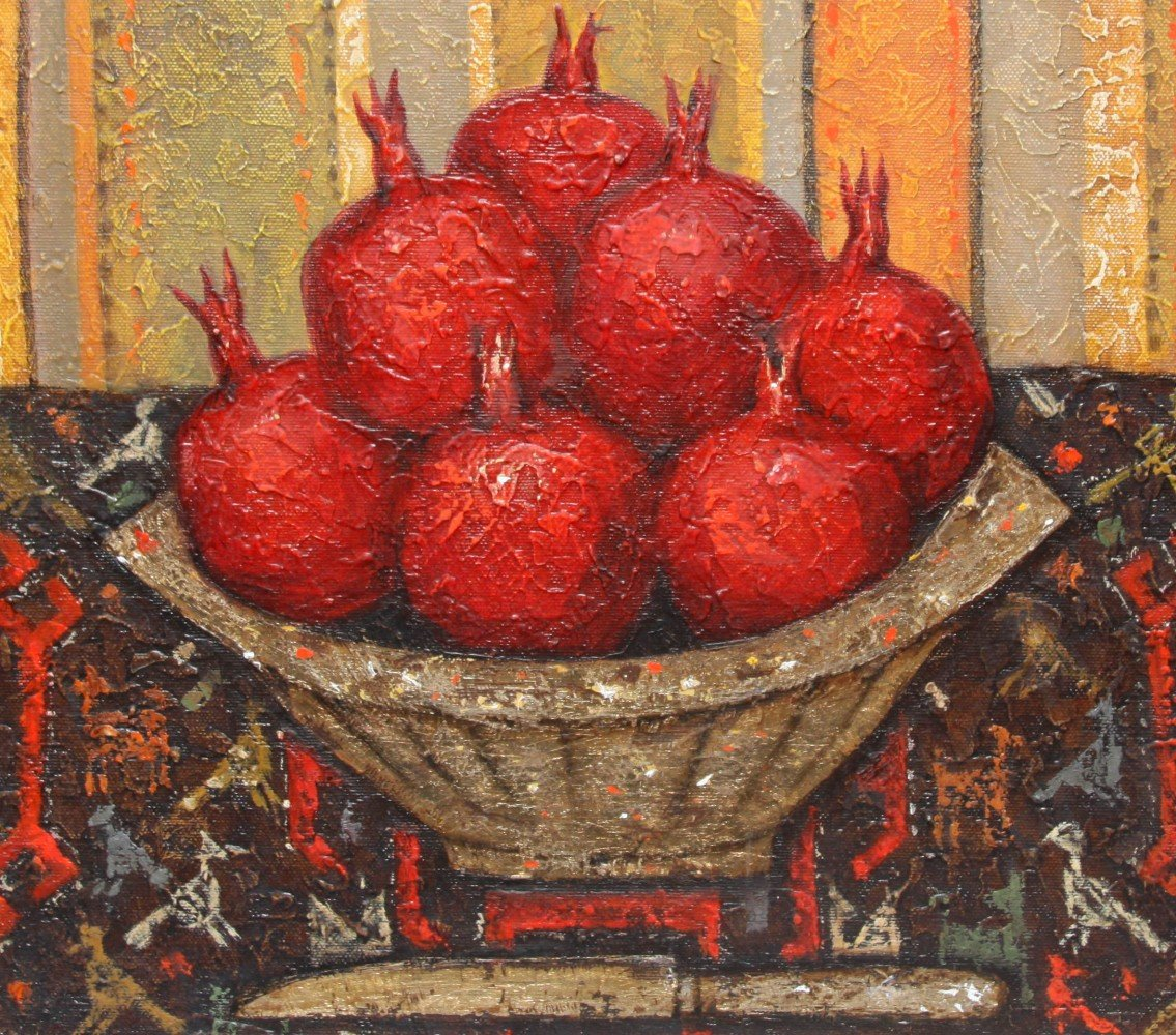 Still Life with Pomegranates, Knife and Textile by Dmitry Polarouche
