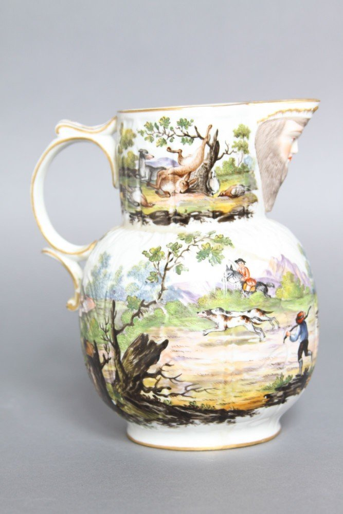 An English Mask Jug with Hunt Scene