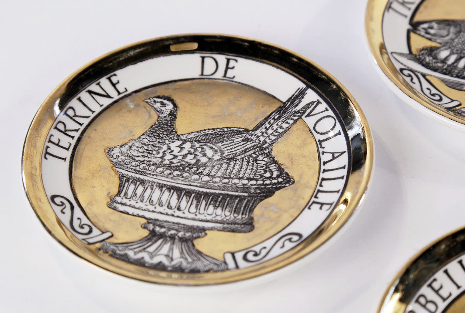 Set of Eight Fornasetti Coasters, Dinner At Eight, or Pranzo alle Otto