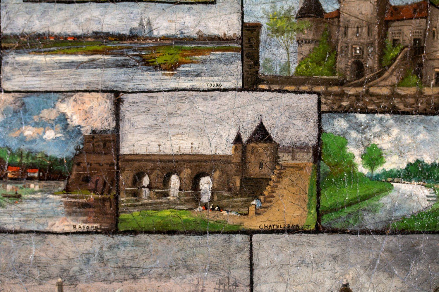 Landscape Collage Oil on Canvas Painting:
