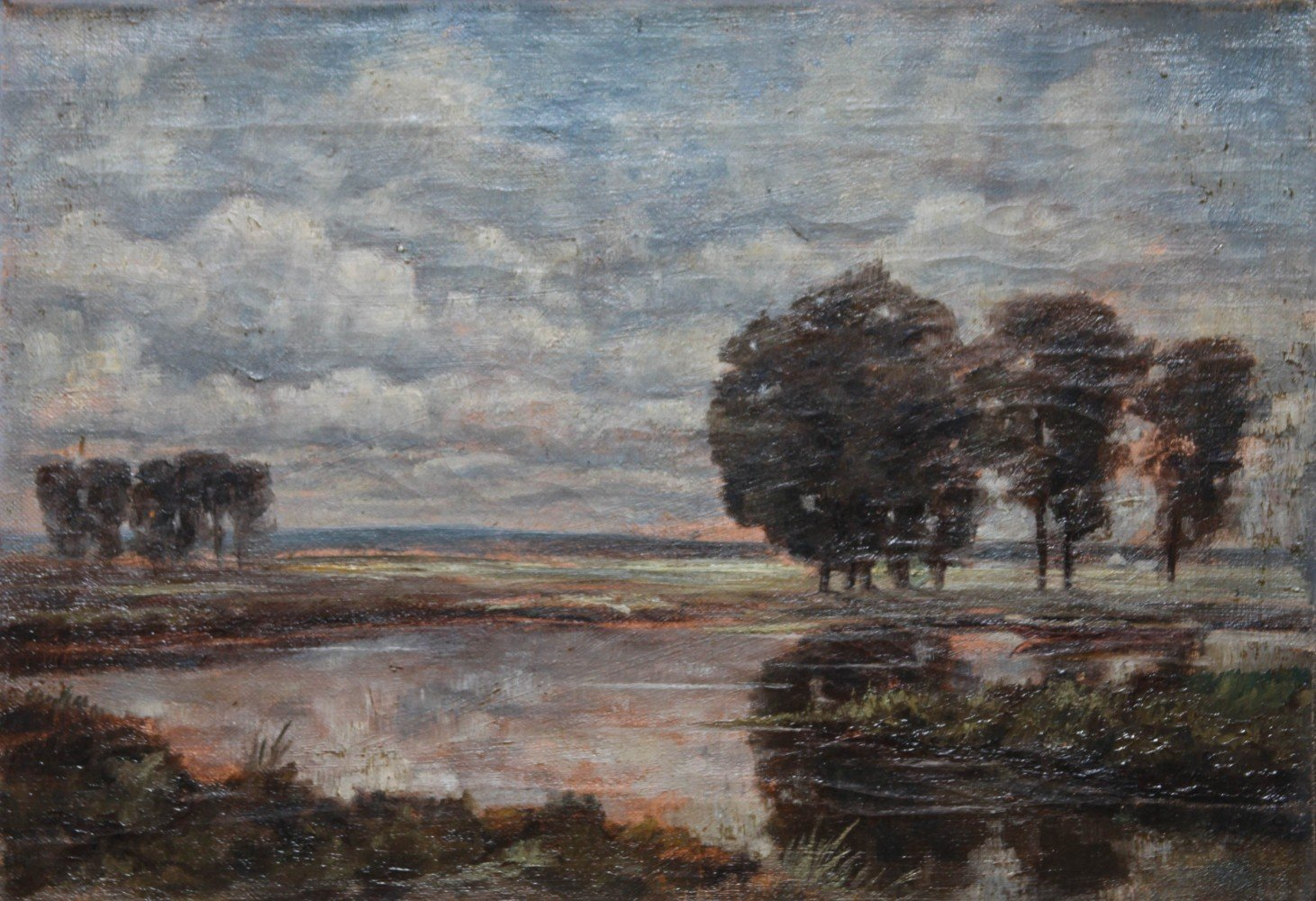 19thc. French School Landscape with Pond at Sunset