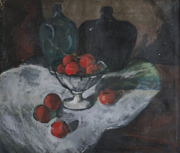 Still Life with Oranges in a Bowl and Two Jugs by Carl Frederick Gaertner