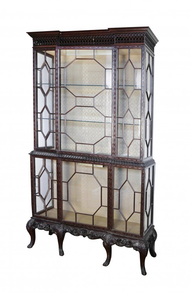 Chippendale  Style Mahogany Vitrine Cabinet by 20th Century School