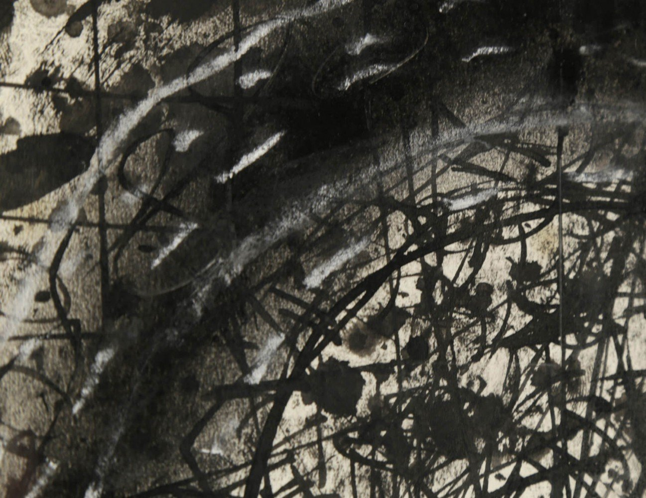 Abstract Ink, Oil, and Chalk on Paper Drawing: