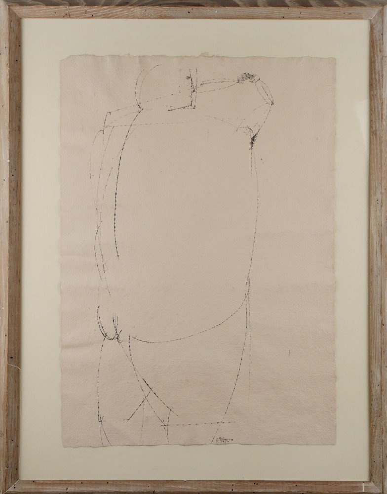 Figurative India Ink on Pink Paper Drawing: