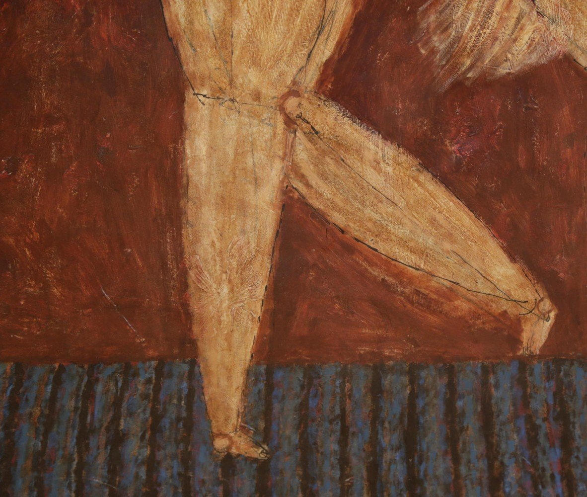 Figurative Oil on Paper Painting: