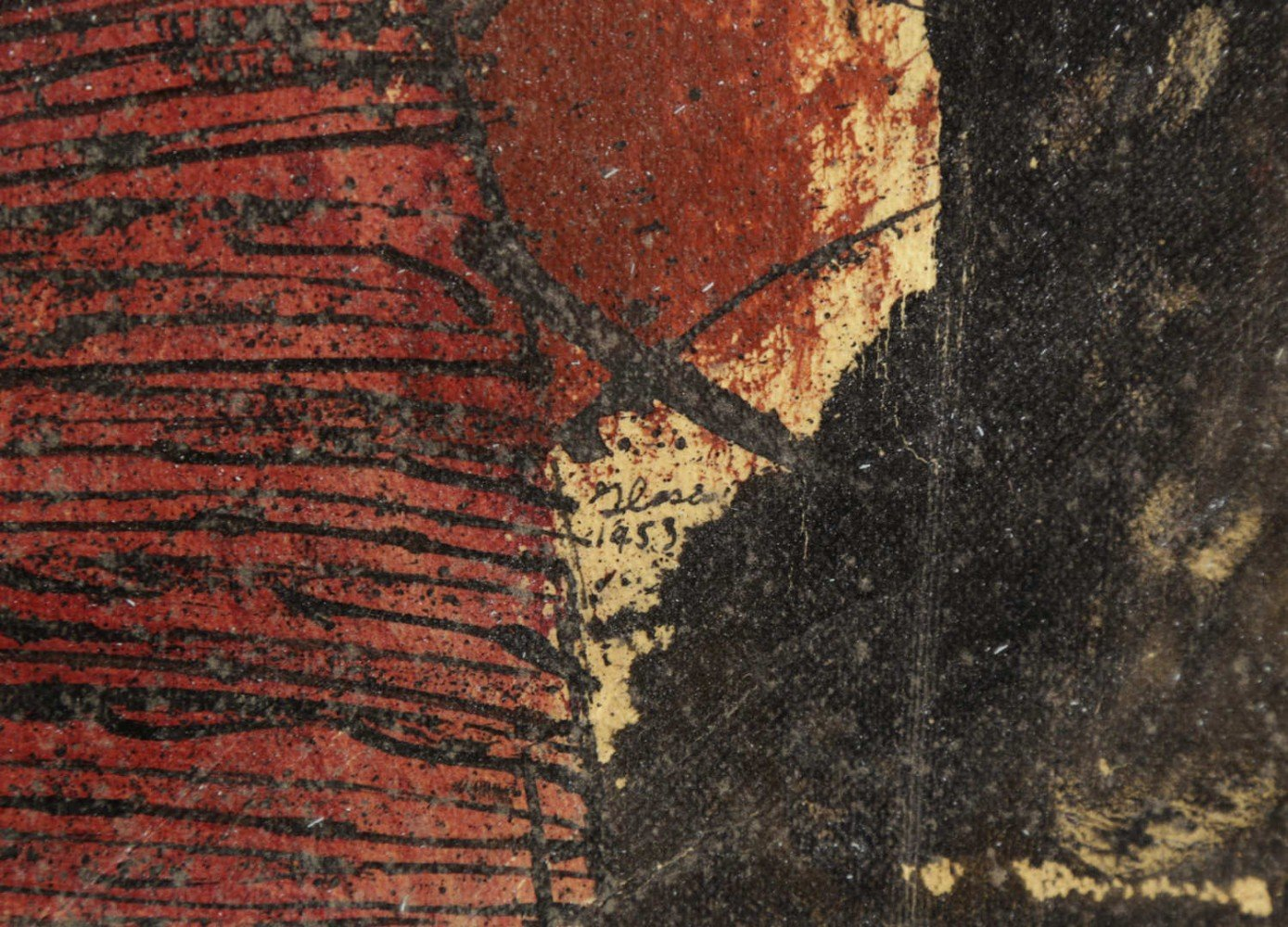 Abstract Ink and Color on Texture Paper, Titled Verso Painting: