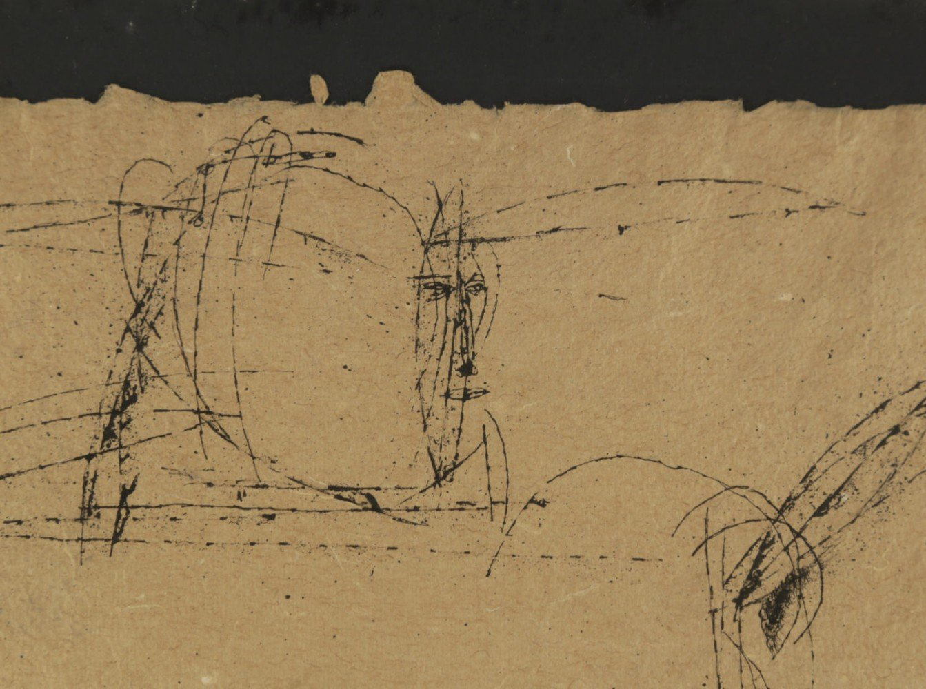 Figurative India Ink on Beige Paper Drawing: