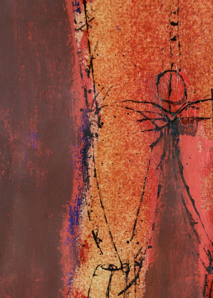 Figurative India Ink and Color on Paper Painting: