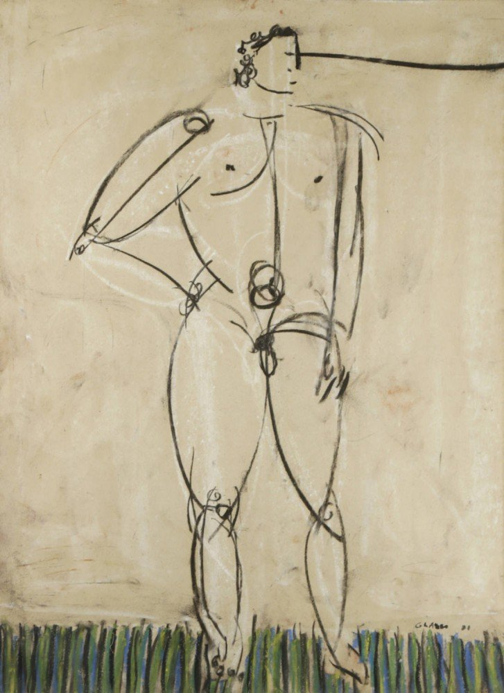 Figurative Chalk and Crayon on Paper Drawing: