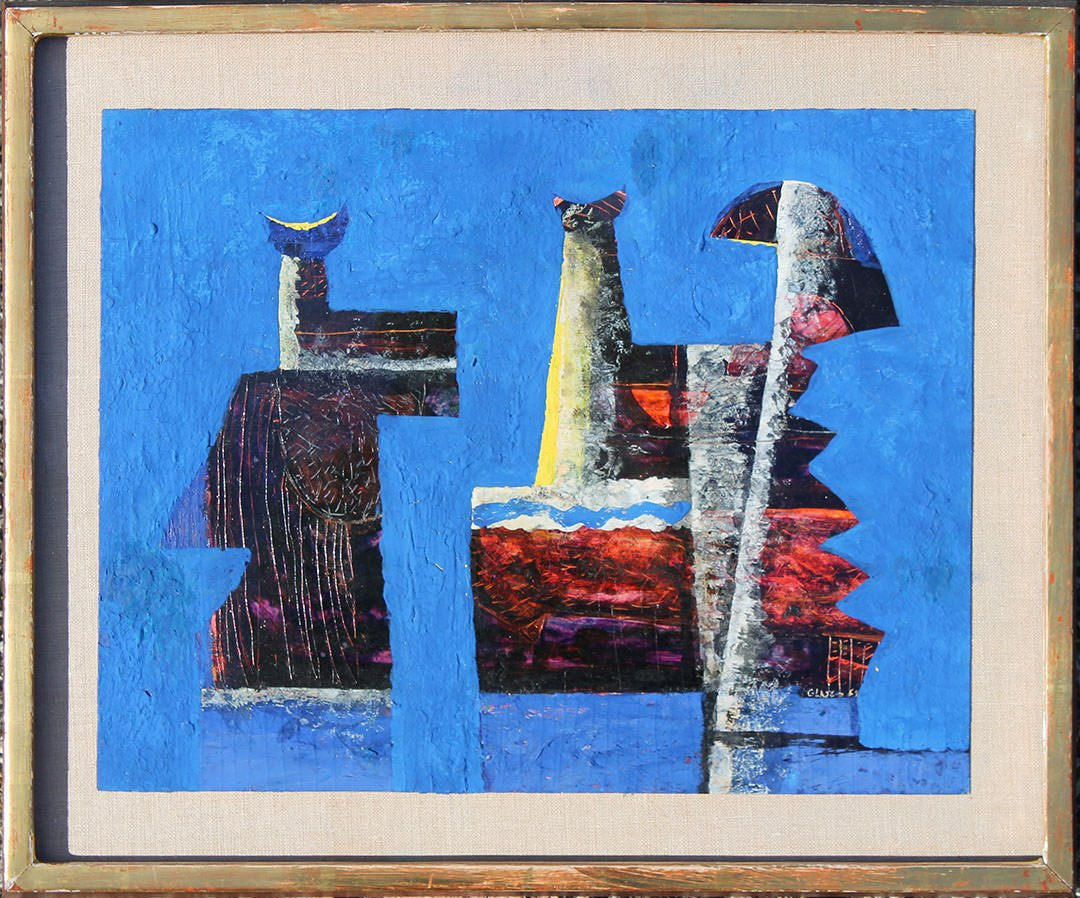Abstract Watercolor, Gouache and Colored Ink Impasto on Board: