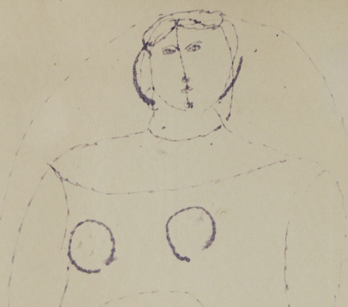 Figurative Pen and Blue Ink on Paper Drawing: