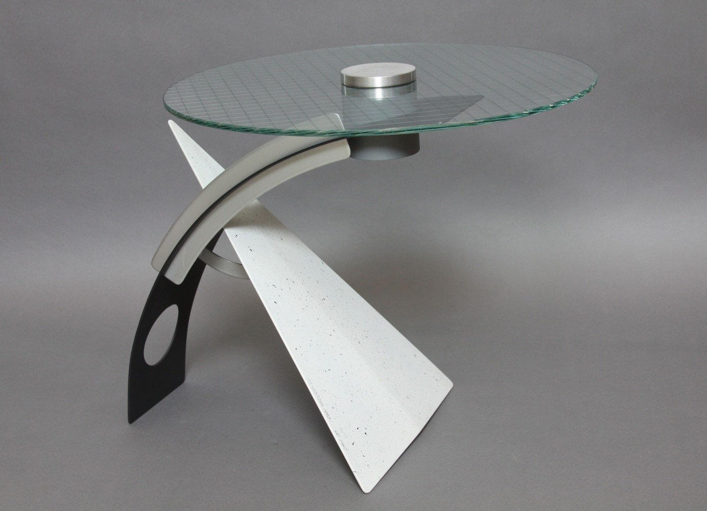 A Glass and Aluminum Side Table, Postmodern Style, signed M.Graham