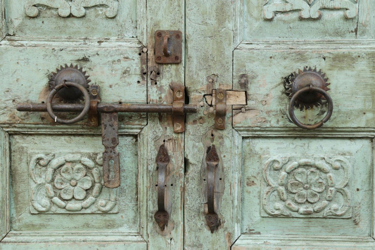 Pair of Indian Carved and painted wood doors