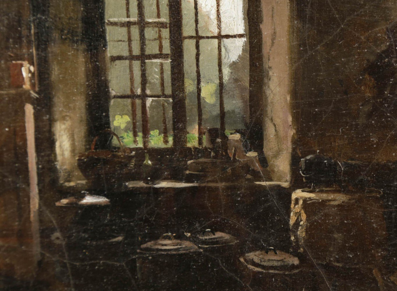 Kitchen Interior with View to a Garden by 19th Century Continental School