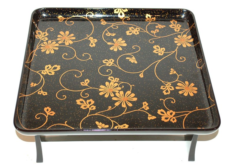 A Japanese Black and Gold Lacquer Footed Tray