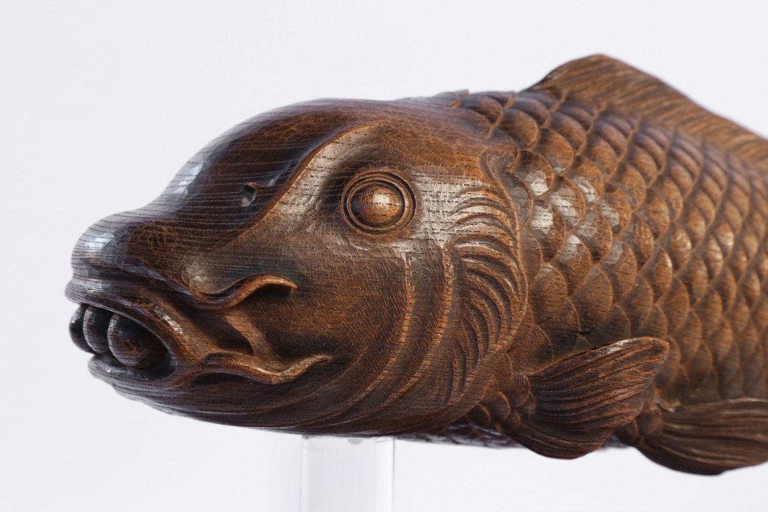 A Japanese Carved Wood Hearth Fish