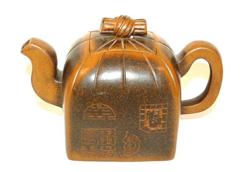 A Japanese Terra Cotta Teapot with Seal on Base