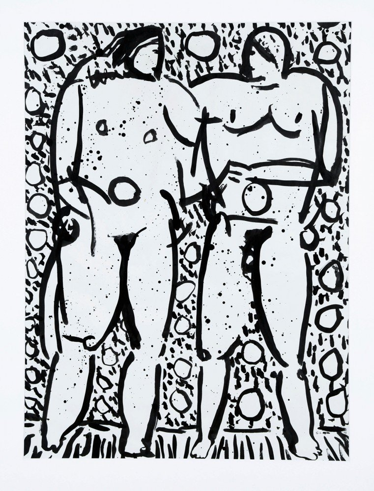 Abstract Figurative Ink Painting: