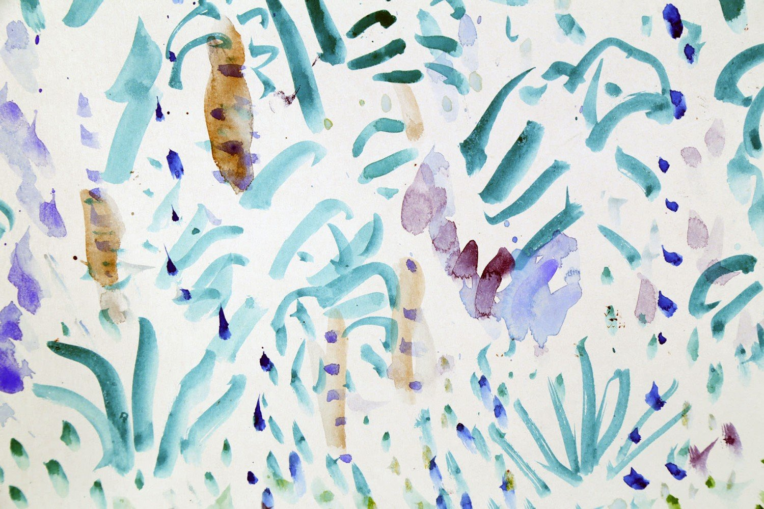 Landscape Colored Ink on Paper Painting: