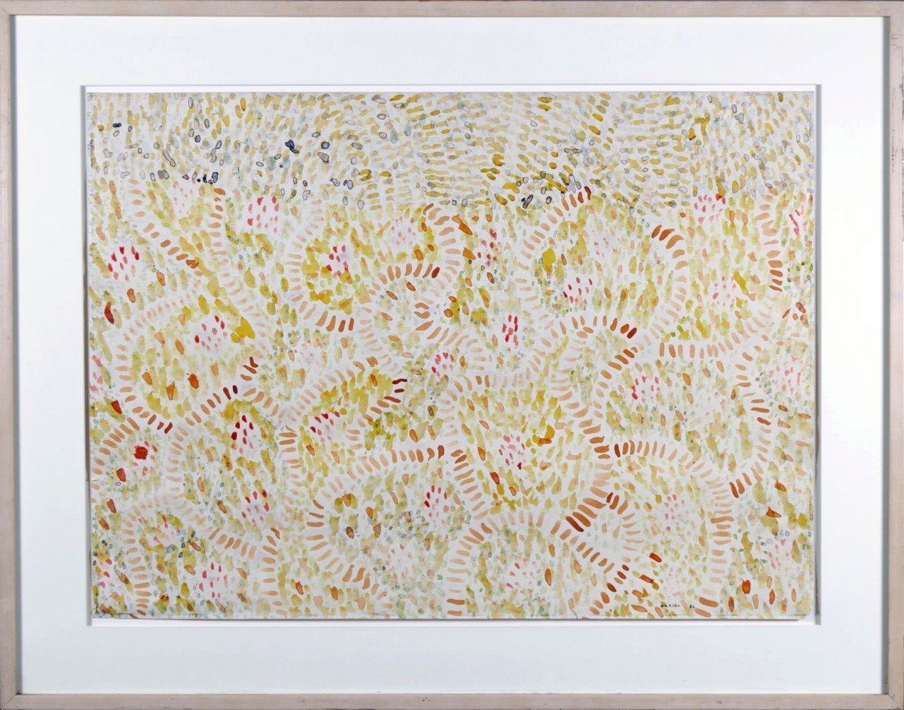 Abstract Colored Ink on Paper Painting: