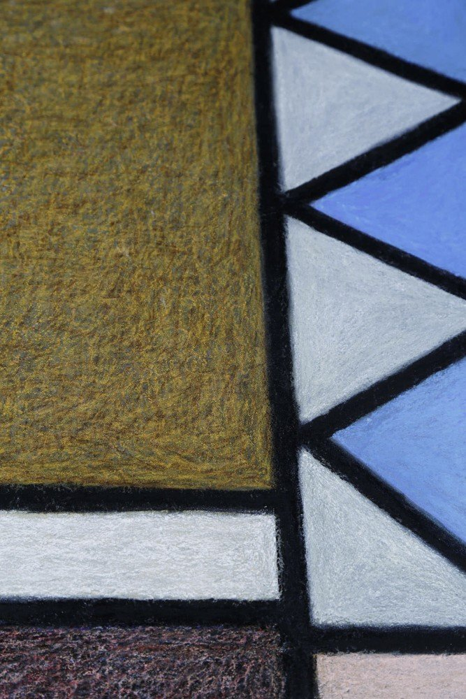 Abstract Pastel on Cardboard with Glaze: