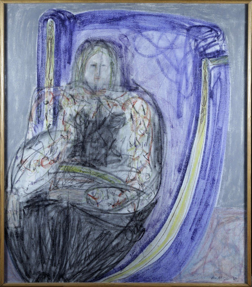 Figurative Oil Pastel on Canvas Painting:
