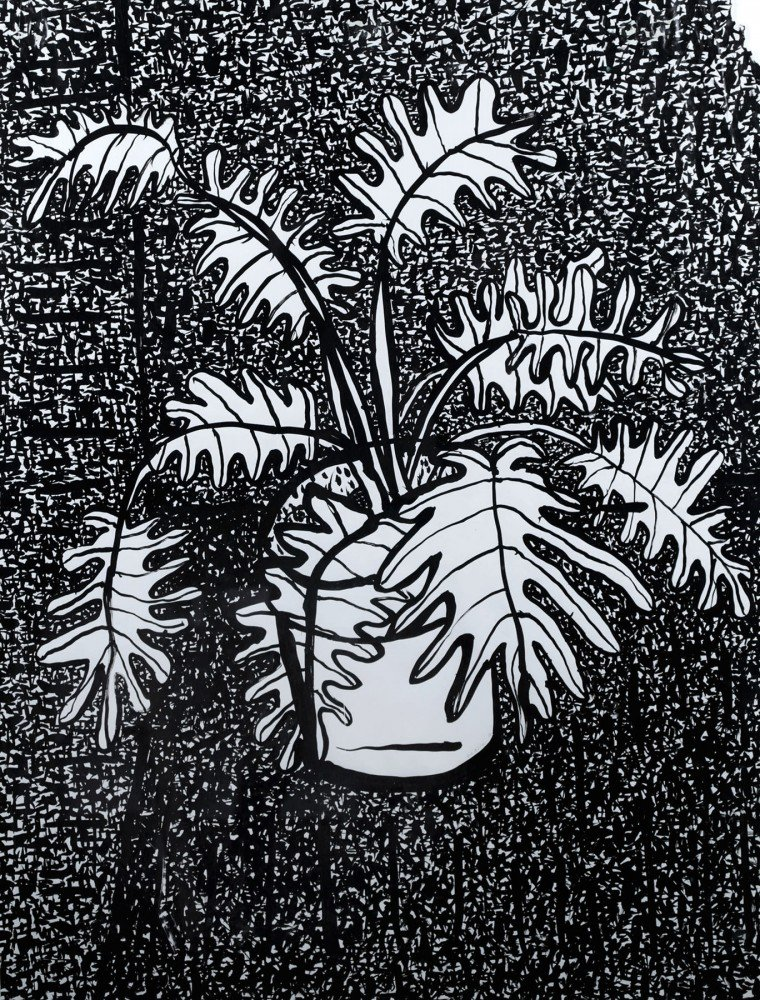 Still Life Ink on Paper Painting: