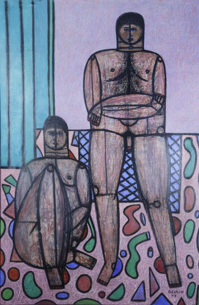 Figurative Pastel on Paper with Glaze Painting:
