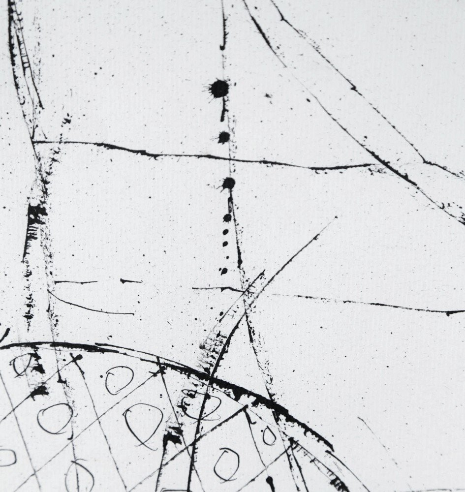 Figurative Abstract Ink on Paper Drawing: