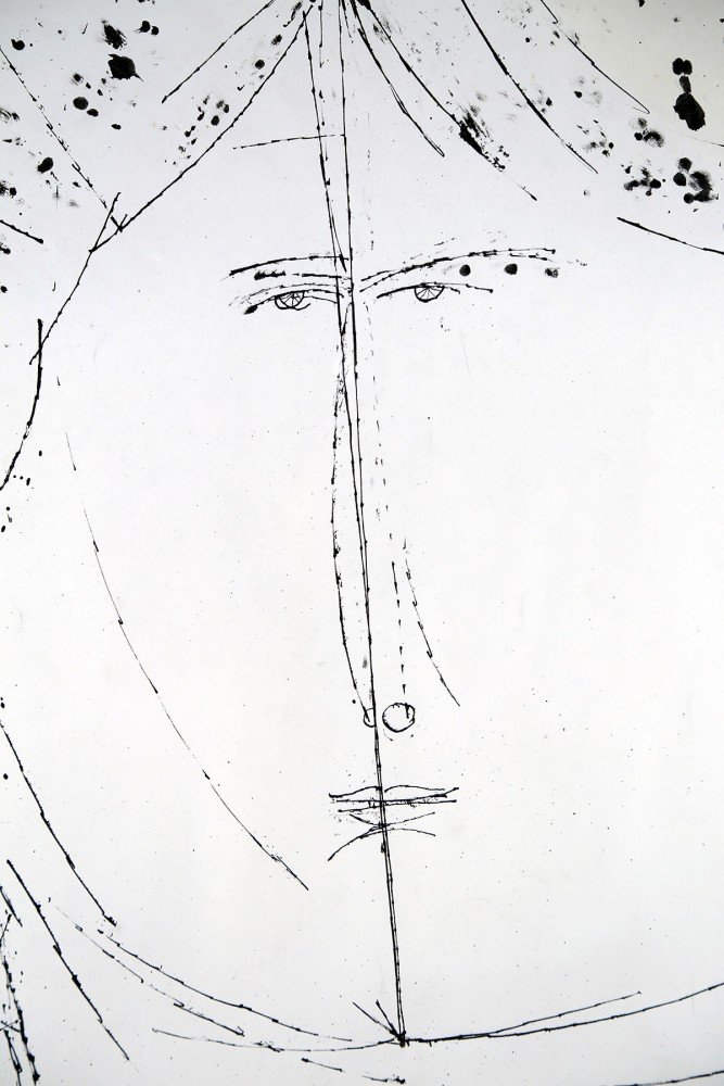 Figurative Ink on Paper Drawing: