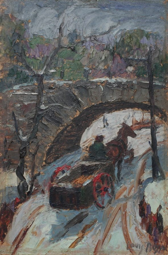 Horse Cart in Snow, Central Park, New York by Louis Bosa