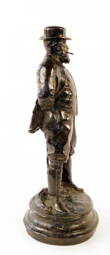 Bronze Figure of a Rugged Gentleman with Hat and Cigar by 19th Century American School
