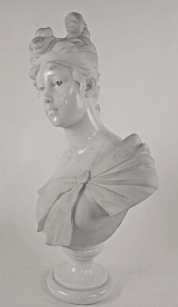 Carved Marble Bust of a Young Woman by 19th Century Continental School
