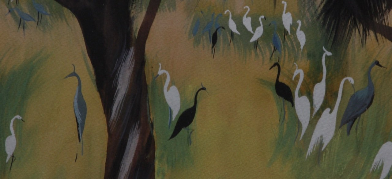 Egrets and Cranes in a Landscape by Marion Bryson