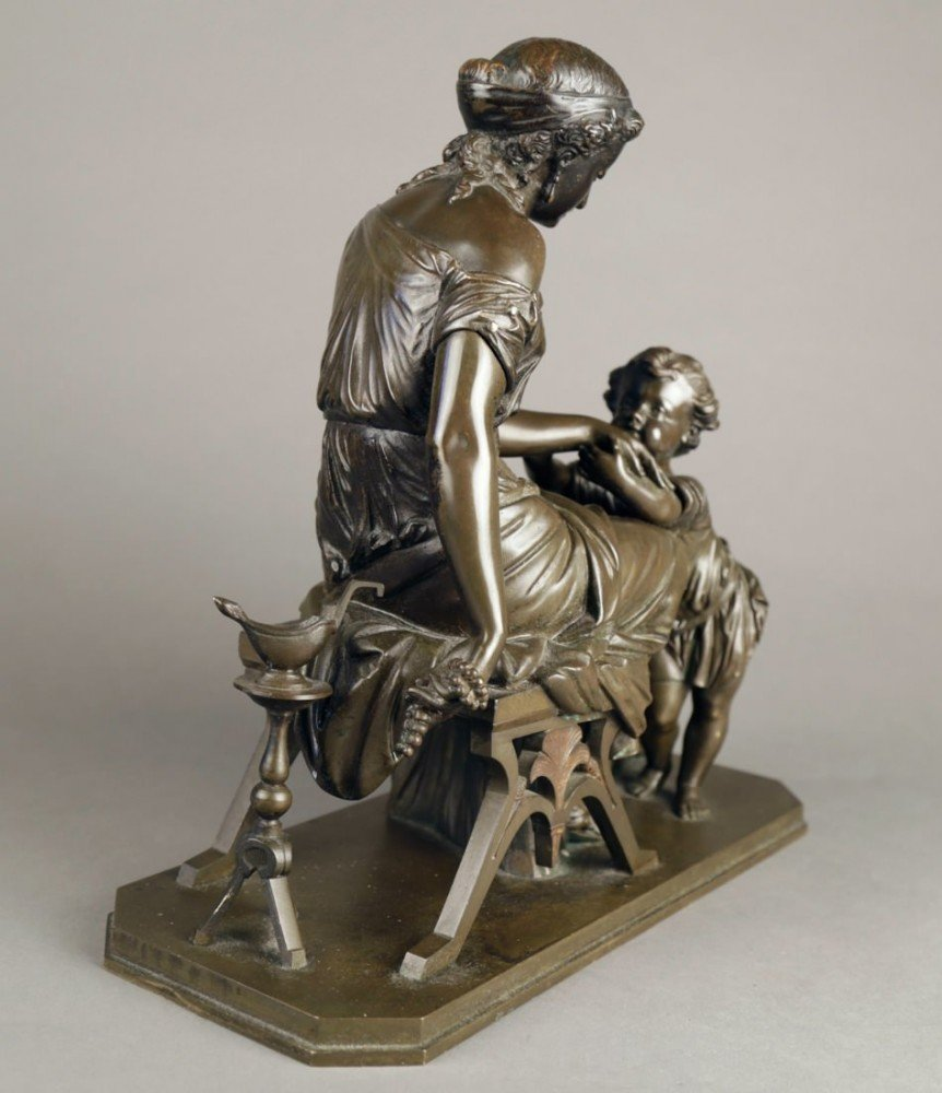 Bronze Figural Group of a Mother and Child by 19th Century French School