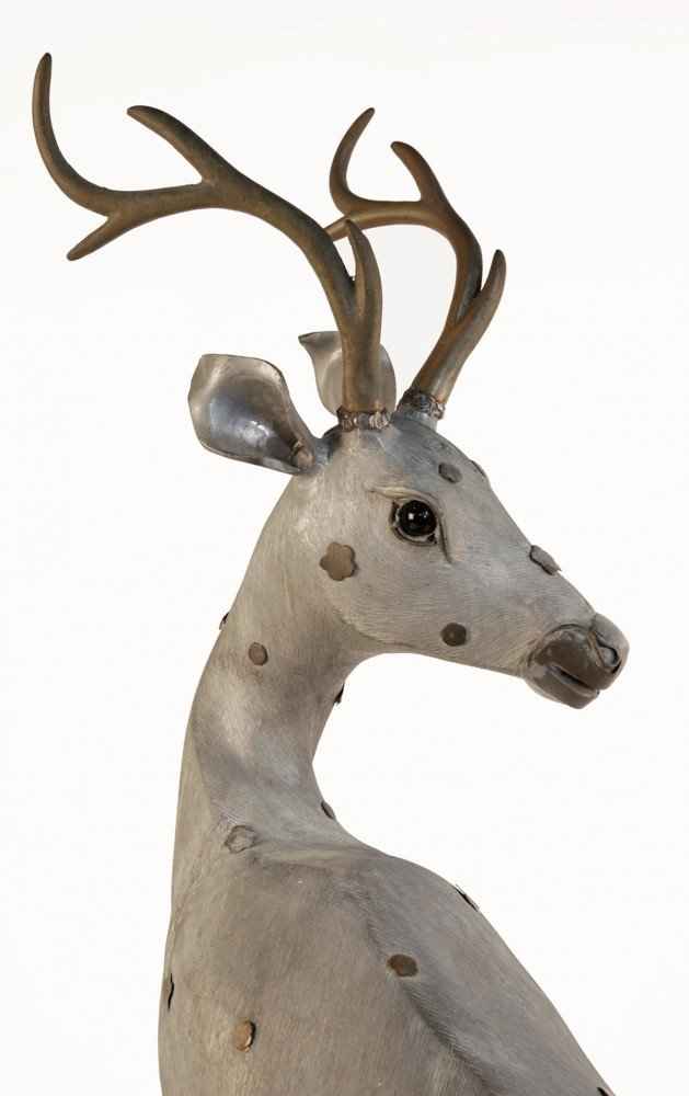A Chinese Pewter Figure of a Deer by 19th Century Chinese School