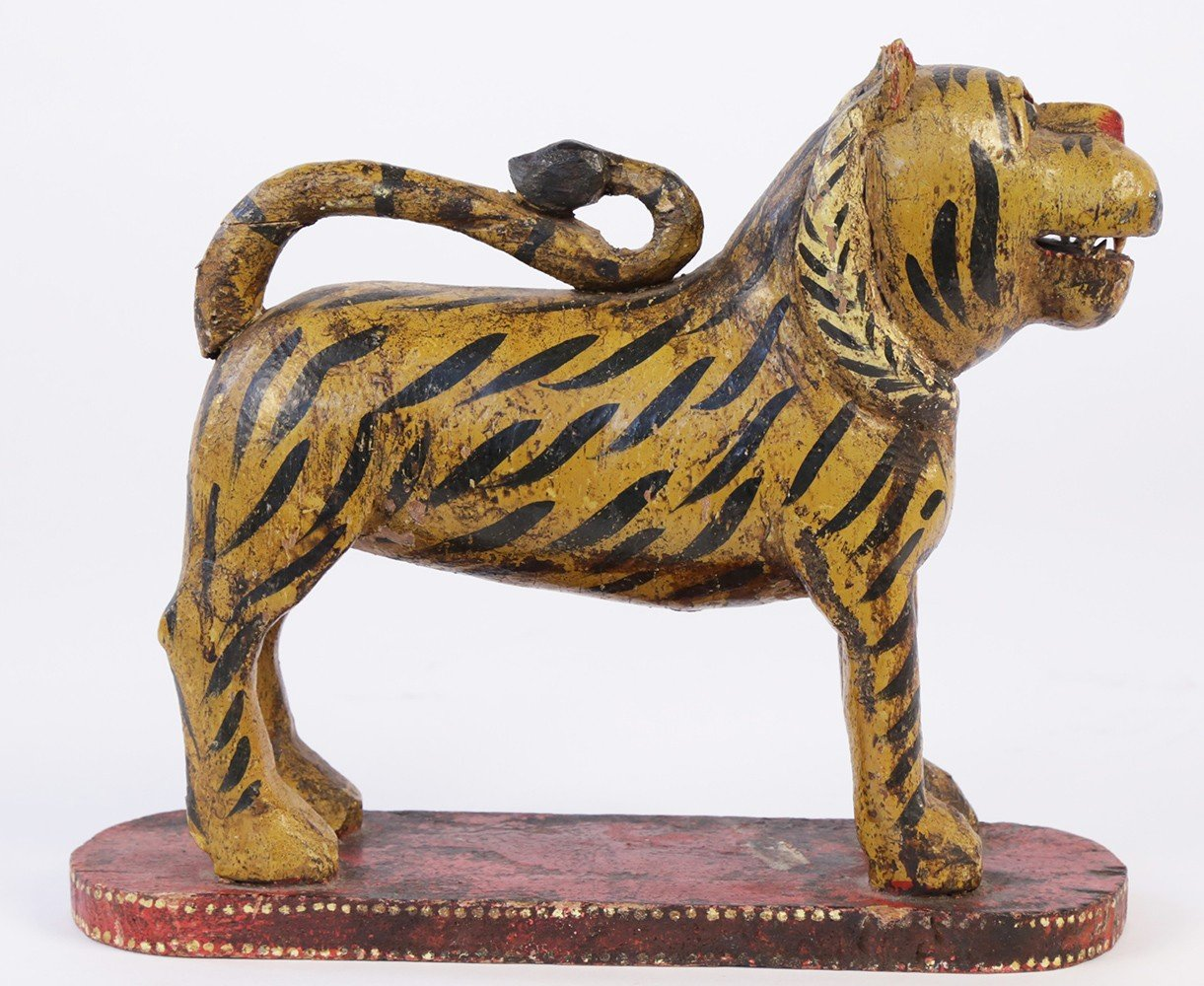 Southeast Asian Carved and Painted Wood Figure of a Tiger