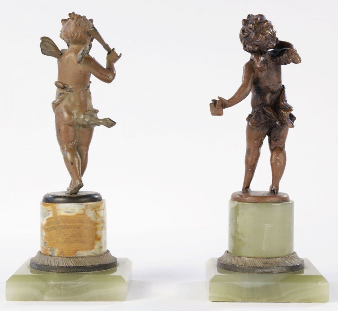 A Pair of Cold Painted Bronze Cherubs on Onyx Bases by 19th Century French School