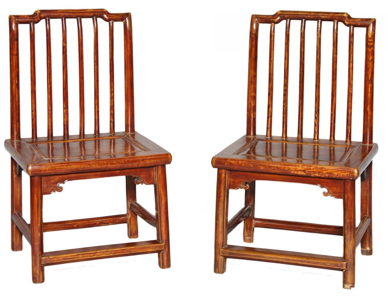 A Pair of Chinese Child's Teakwood Side Chairs