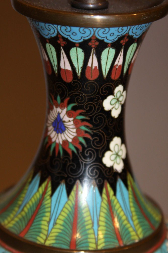 A Pair of Chinese Cloisonne Vases, Fitted as Table Lamps