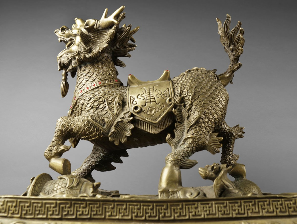 Pair of Chinese Brass Qilin figures