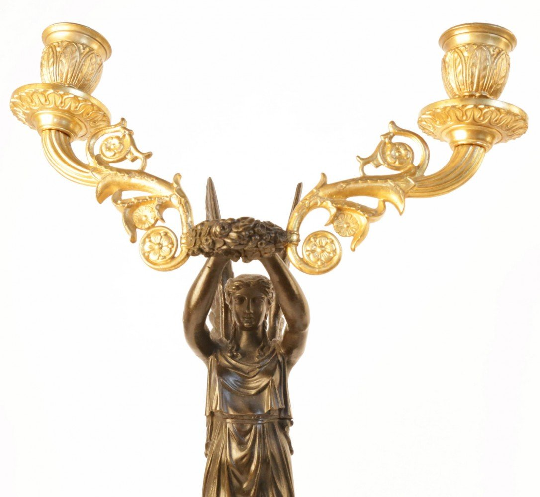 Pair Early19th Century Empire Bronze and Gilt Candelabra by 19th Century French School