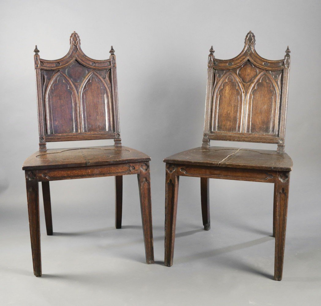 Pair Gothic Style English Oak Hall Chairs  by 19th Century British School