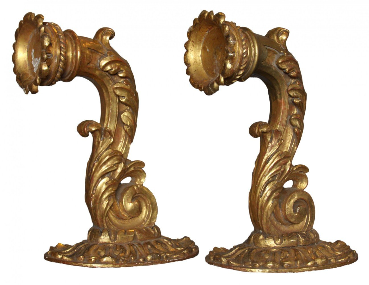 A Pair of Italian Gilded Wood Wall Sconces