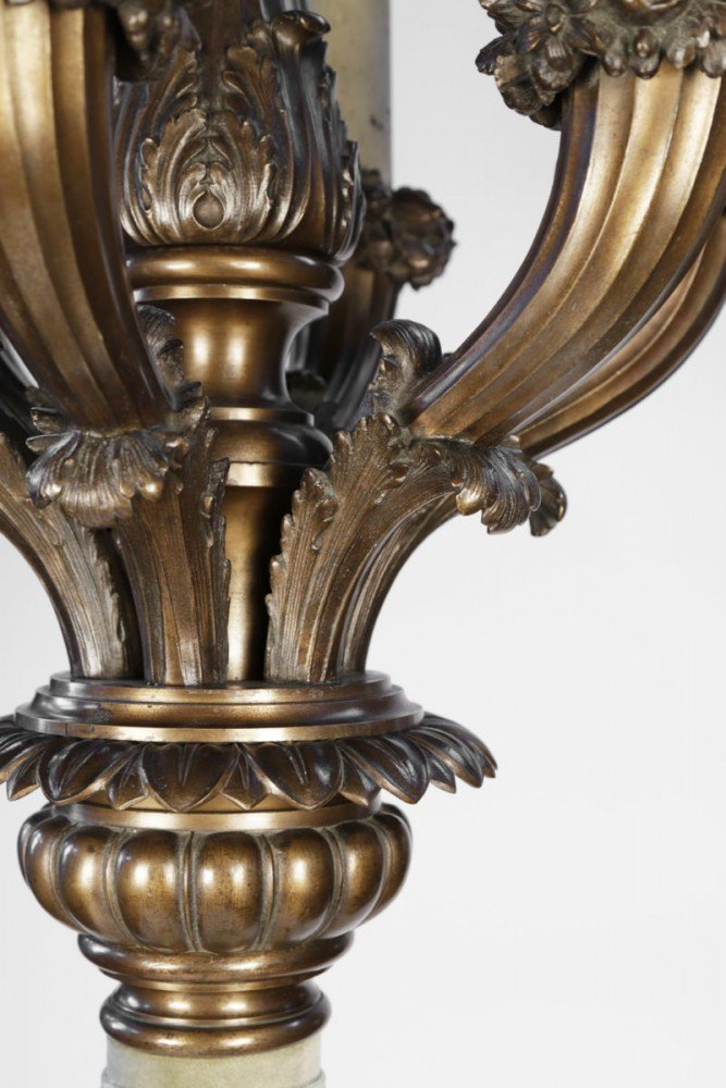 Pair of Monumental  Seven Light American Bronze Torcheres by 20th Century American School