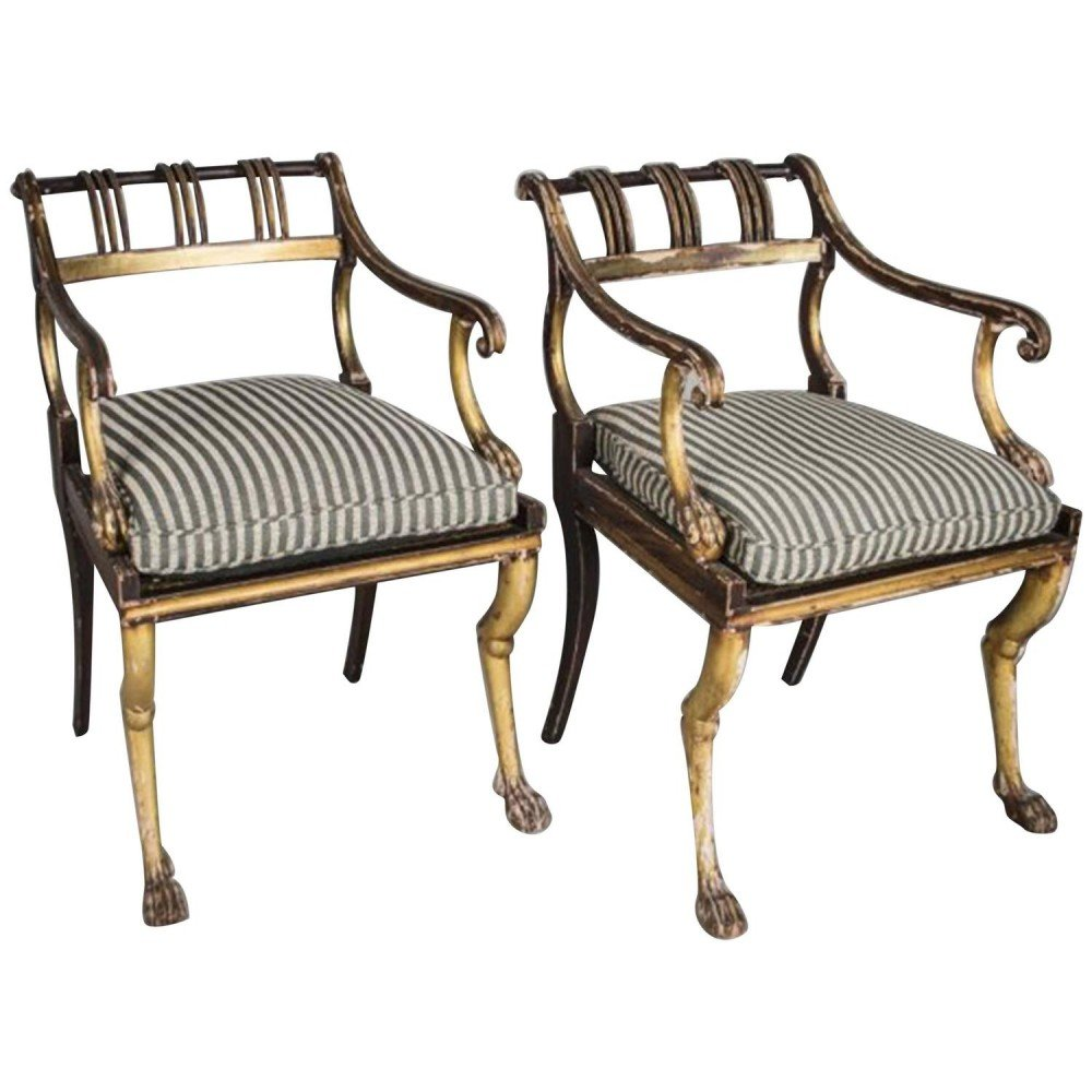 Pair of Regency Style Gilded and Painted Armchairs