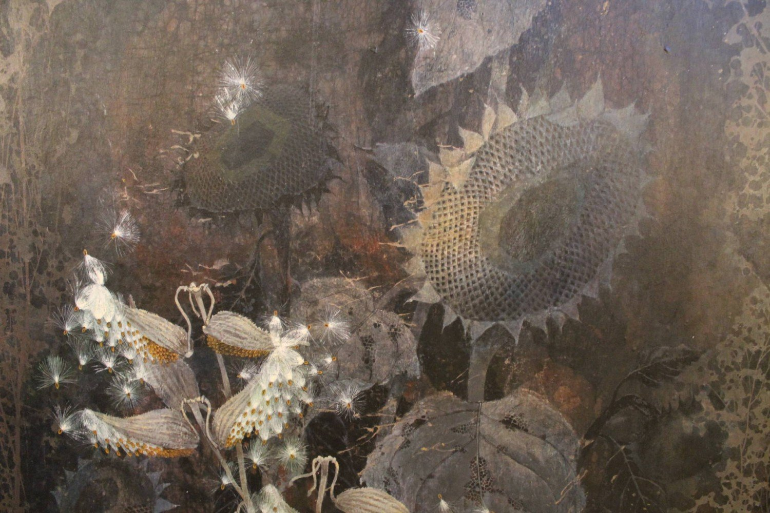 Still Life with Sunflowers and Milkweed Pods by Robert H. Laessig