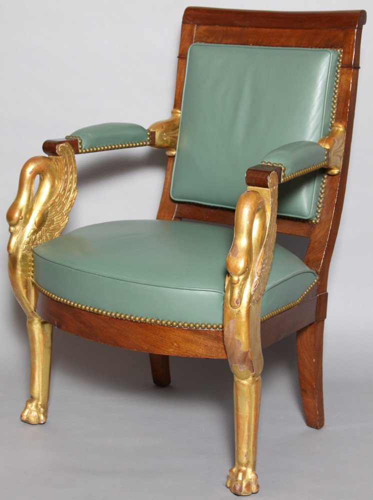 A Russian Neoclassical Carved Armchair