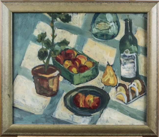 Still Life with Checked Tablecloth and Bottles of Wine by 20th Century School
